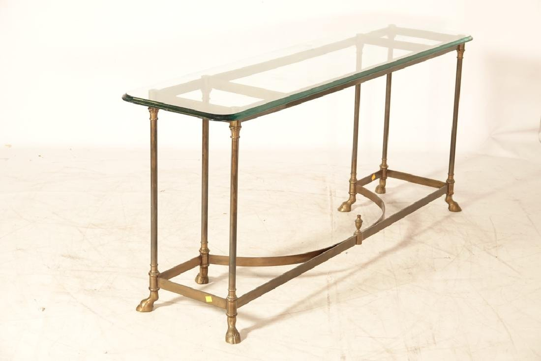 """LABARGE """"Hollywood Regency""""  Glass Top Console - 4"""