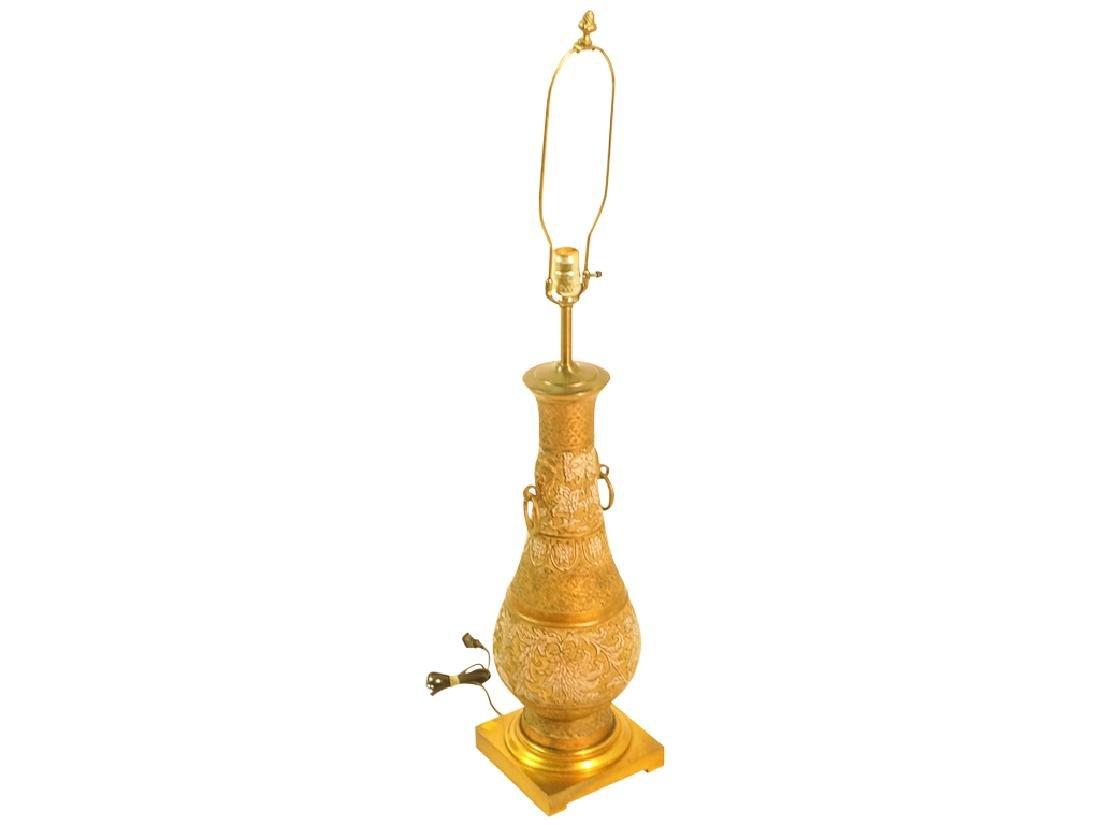 Mid Century Chinese Enamel & Brass Lamp