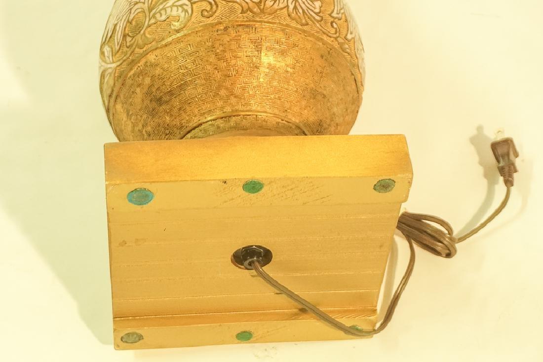 Mid Century Chinese Enamel & Brass Lamp - 9