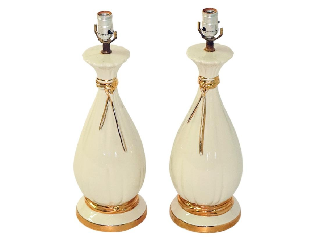 Pair Creme Ceramic Lamps