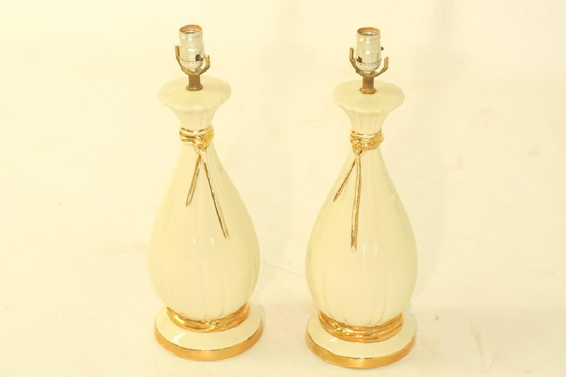 Pair Creme Ceramic Lamps - 2