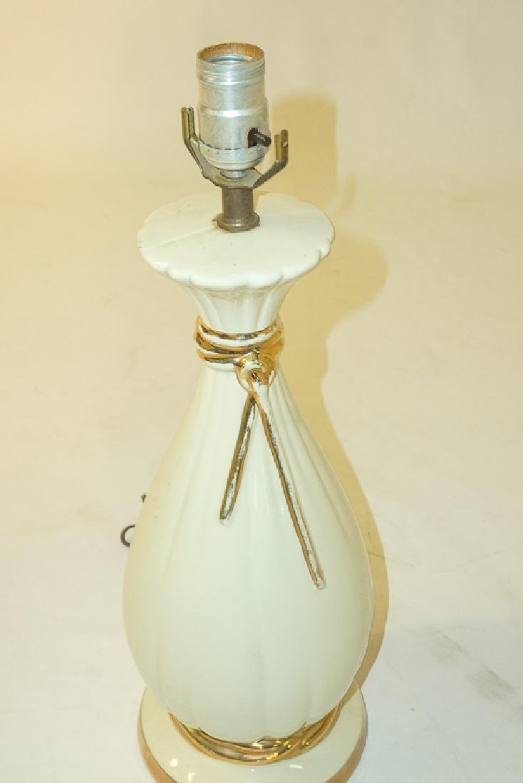 Pair Creme Ceramic Lamps - 4