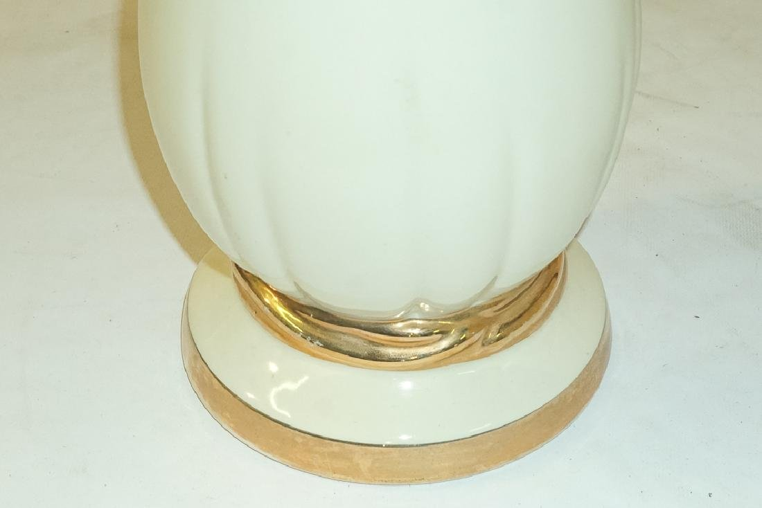 Pair Creme Ceramic Lamps - 5