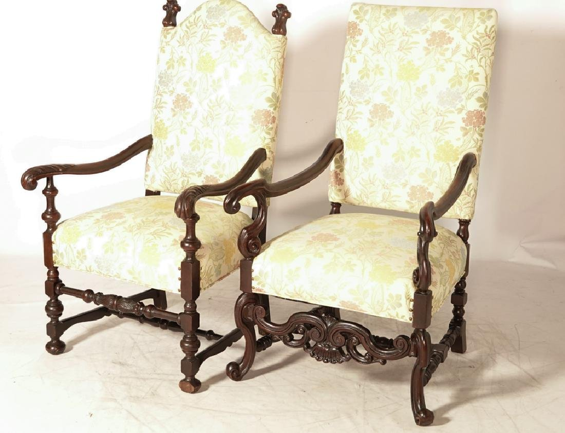 Two (2) Louis XIII Style Upholstered Armchairs