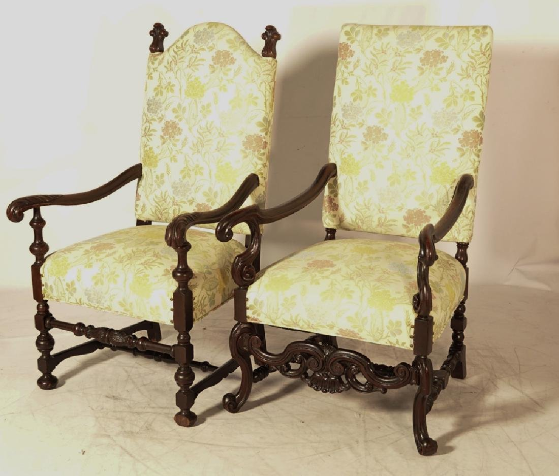 Two (2) Louis XIII Style Upholstered Armchairs - 2