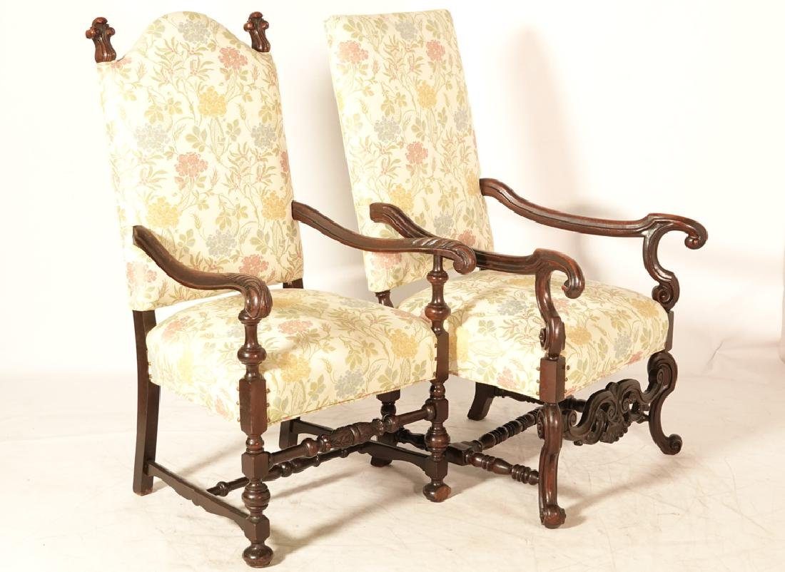 Two (2) Louis XIII Style Upholstered Armchairs - 3