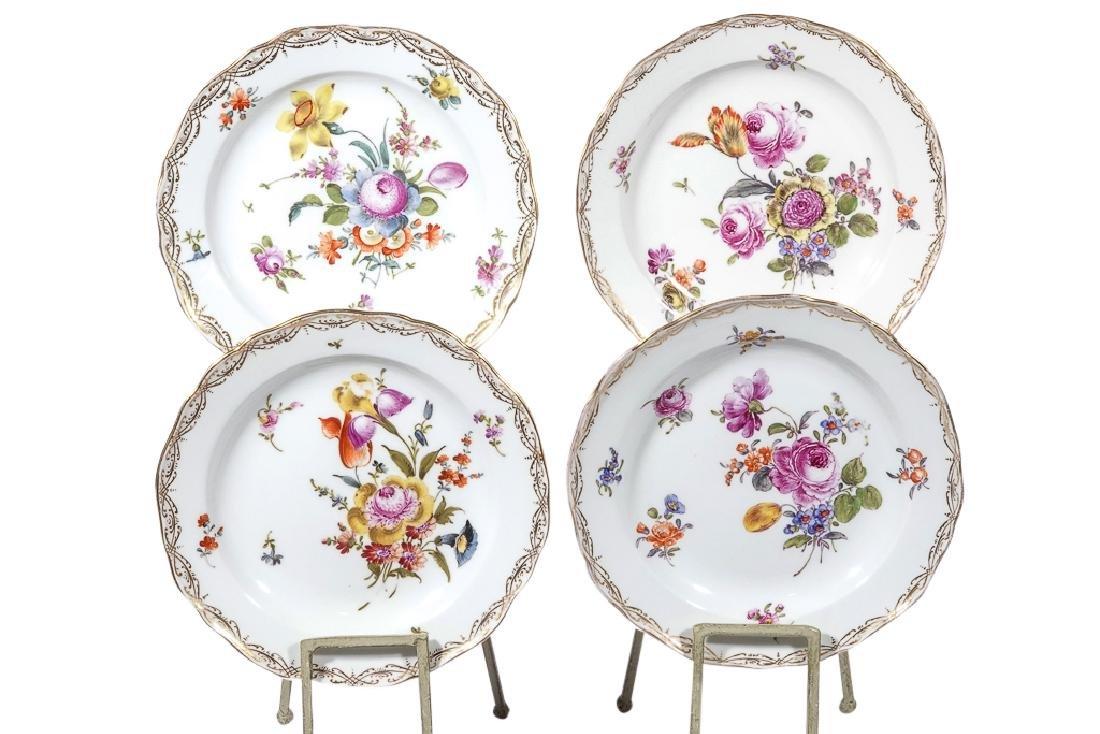 Set of Four MEISSEN Dessert Plates