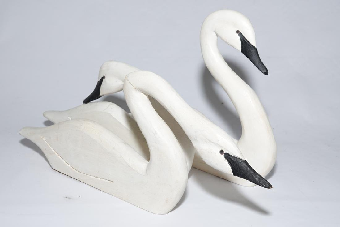 Set of Three (3) J DUDLEY Carved Swans - 10