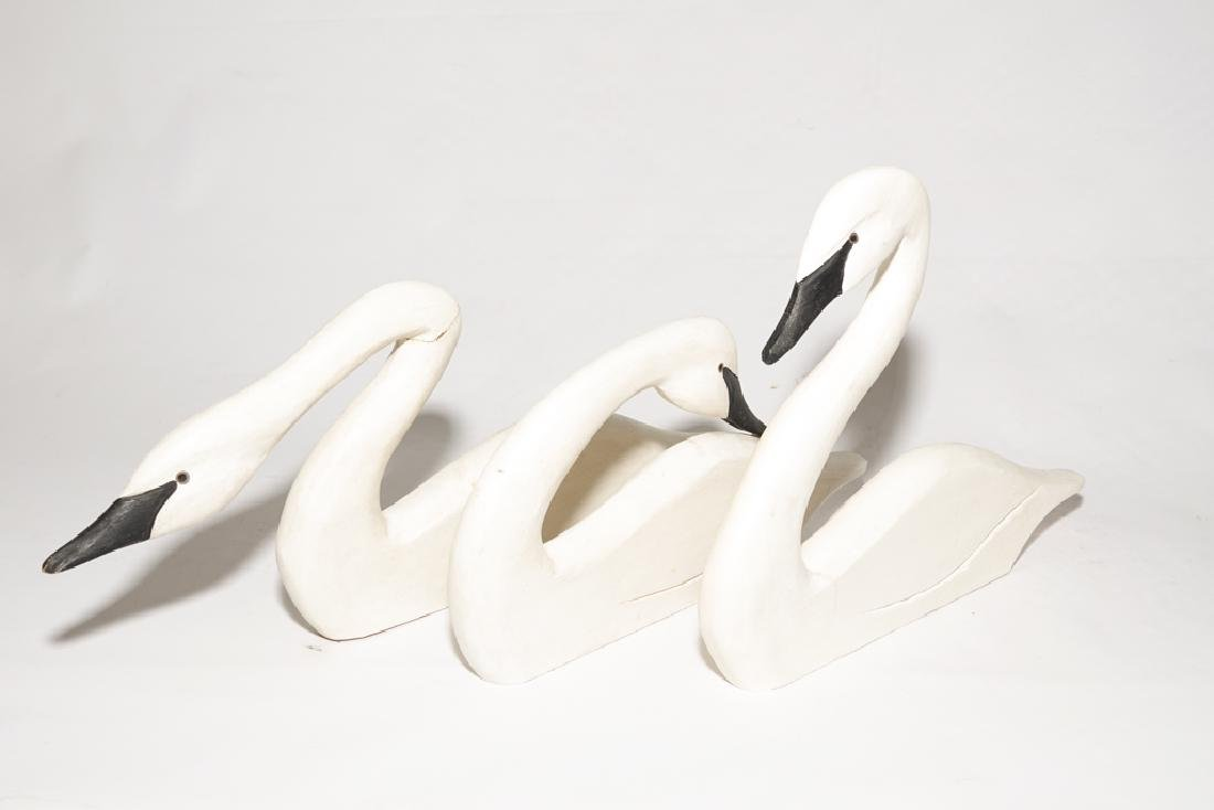 Set of Three (3) J DUDLEY Carved Swans - 9