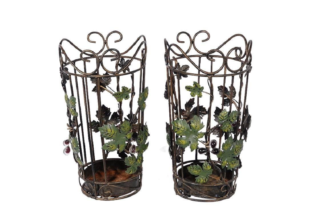Pair Tole Baskets with Ivy
