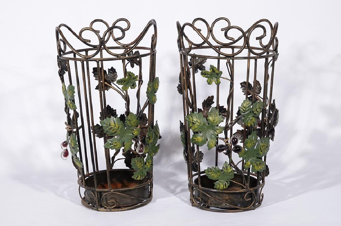 Pair Tole Baskets with Ivy - 2
