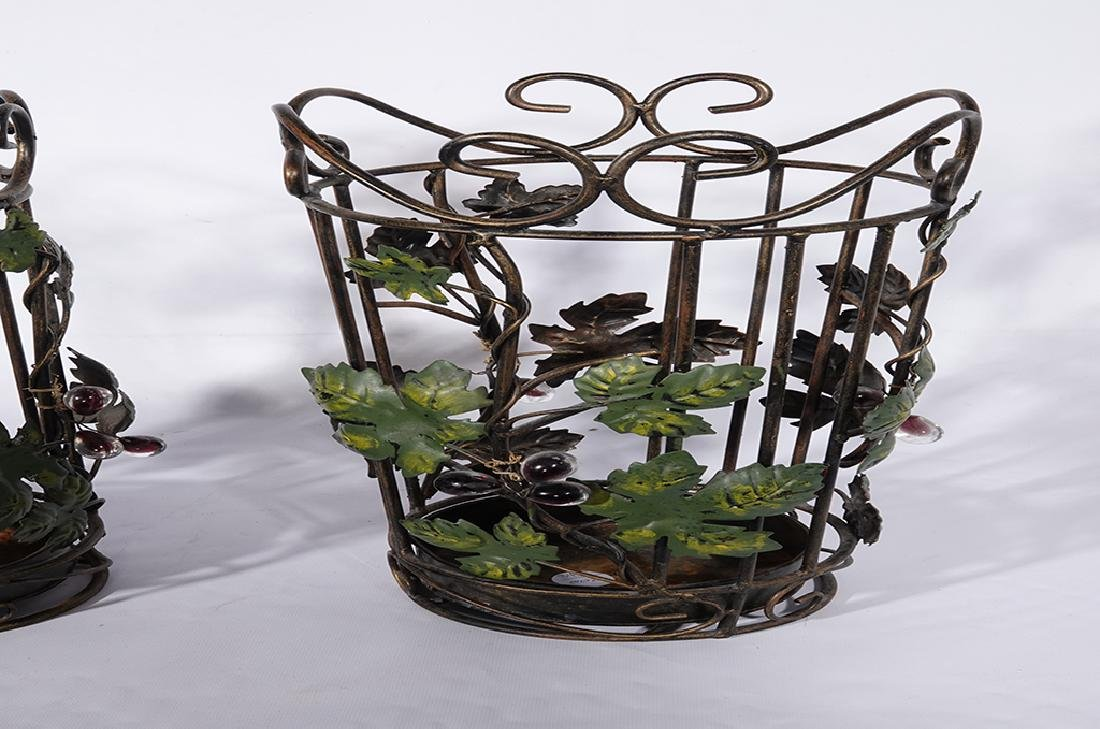 Pair Tole Baskets with Ivy - 3
