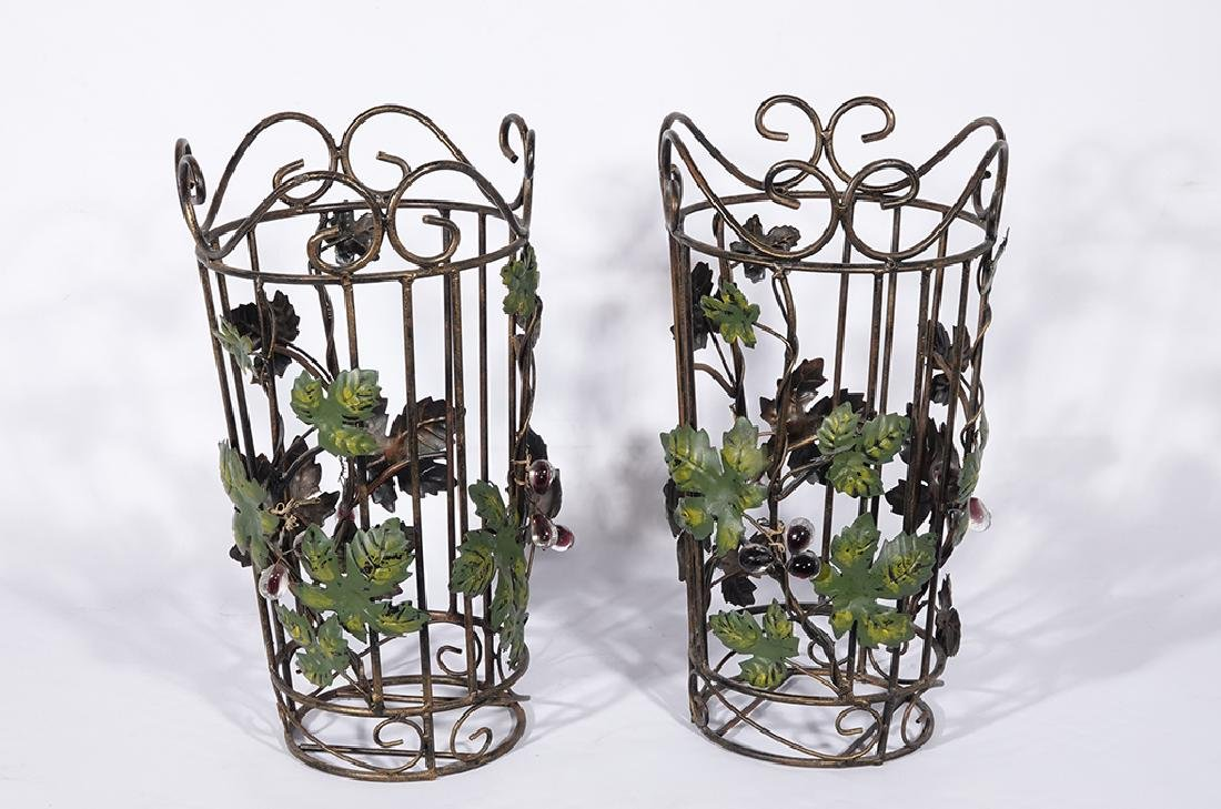 Pair Tole Baskets with Ivy - 4