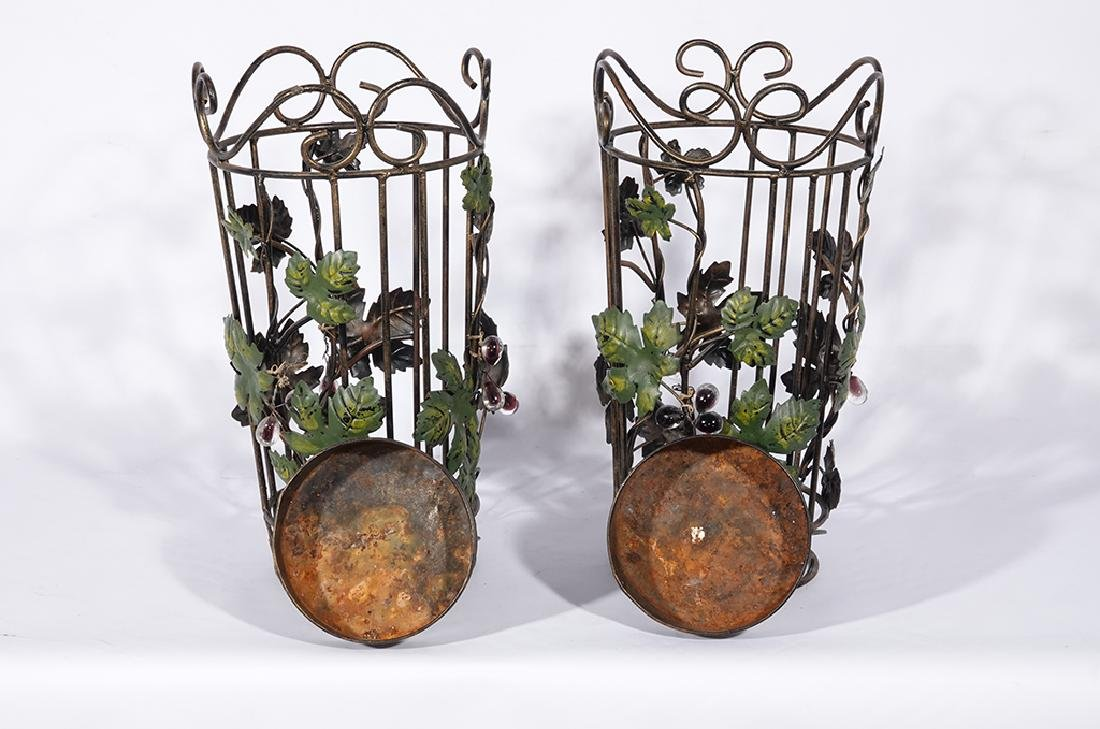 Pair Tole Baskets with Ivy - 5