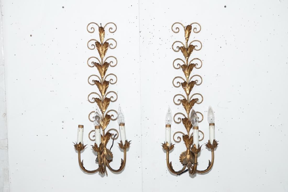 Italian Gilt Metal Wall Sconces