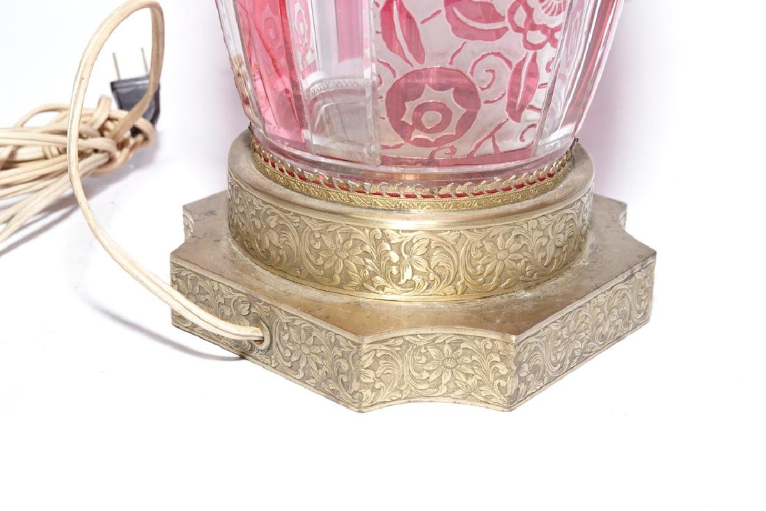 Bohemian Style Ruby & Clear Glass Lamp - 5