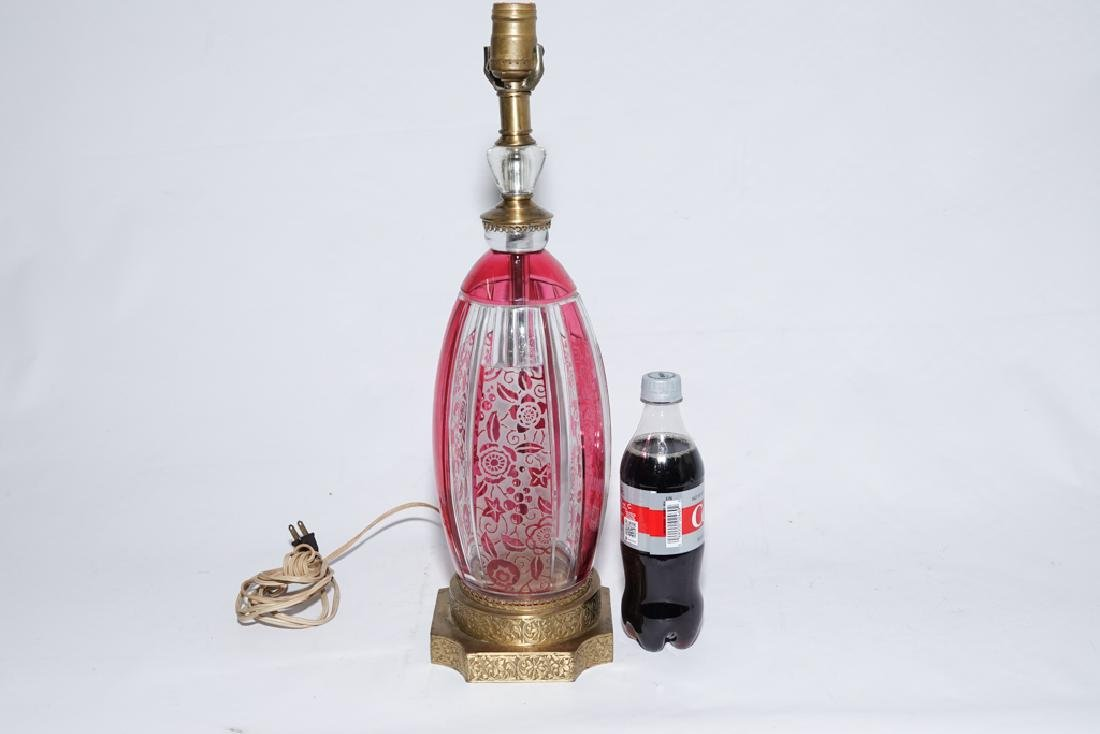 Bohemian Style Ruby & Clear Glass Lamp - 8