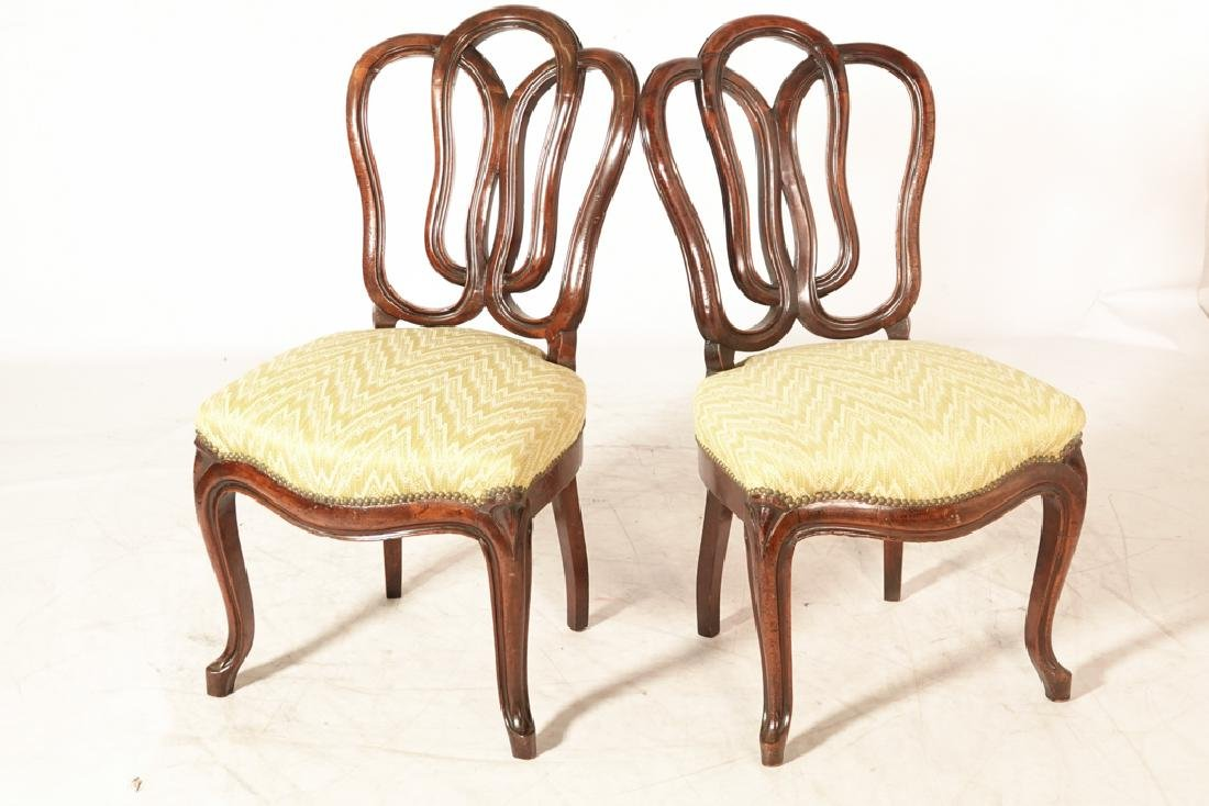 Pair of Antique Italian Ribbon Back Side Chairs