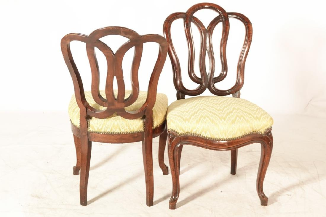 Pair of Antique Italian Ribbon Back Side Chairs - 2