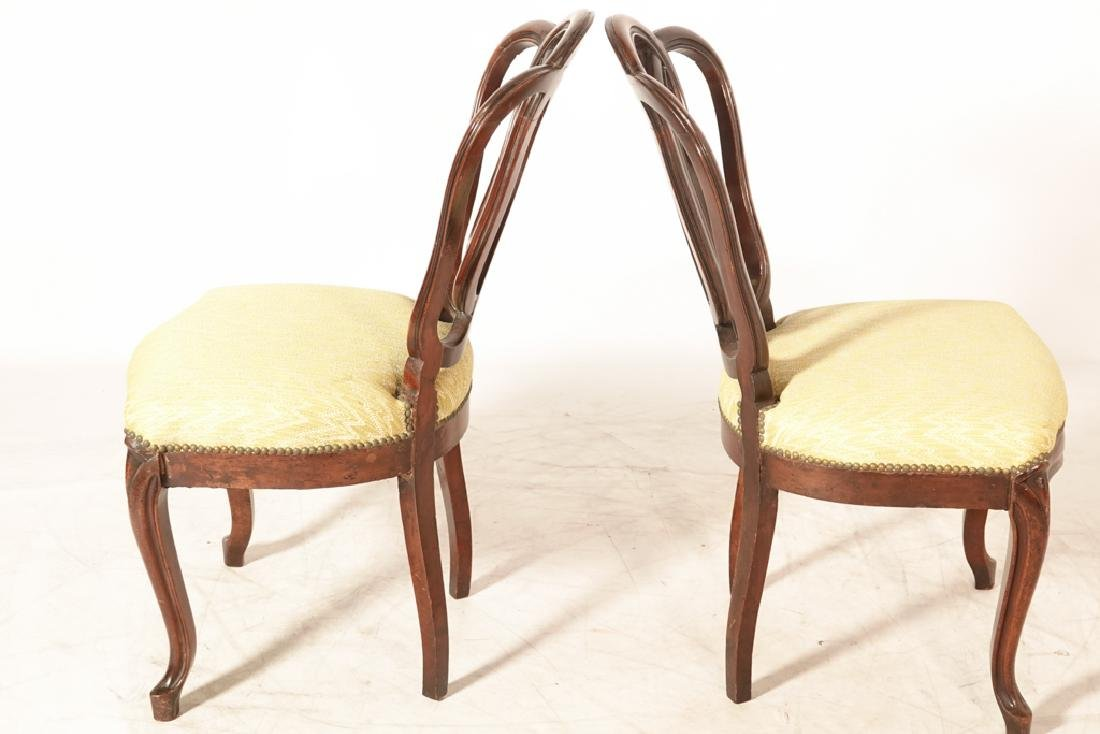 Pair of Antique Italian Ribbon Back Side Chairs - 3