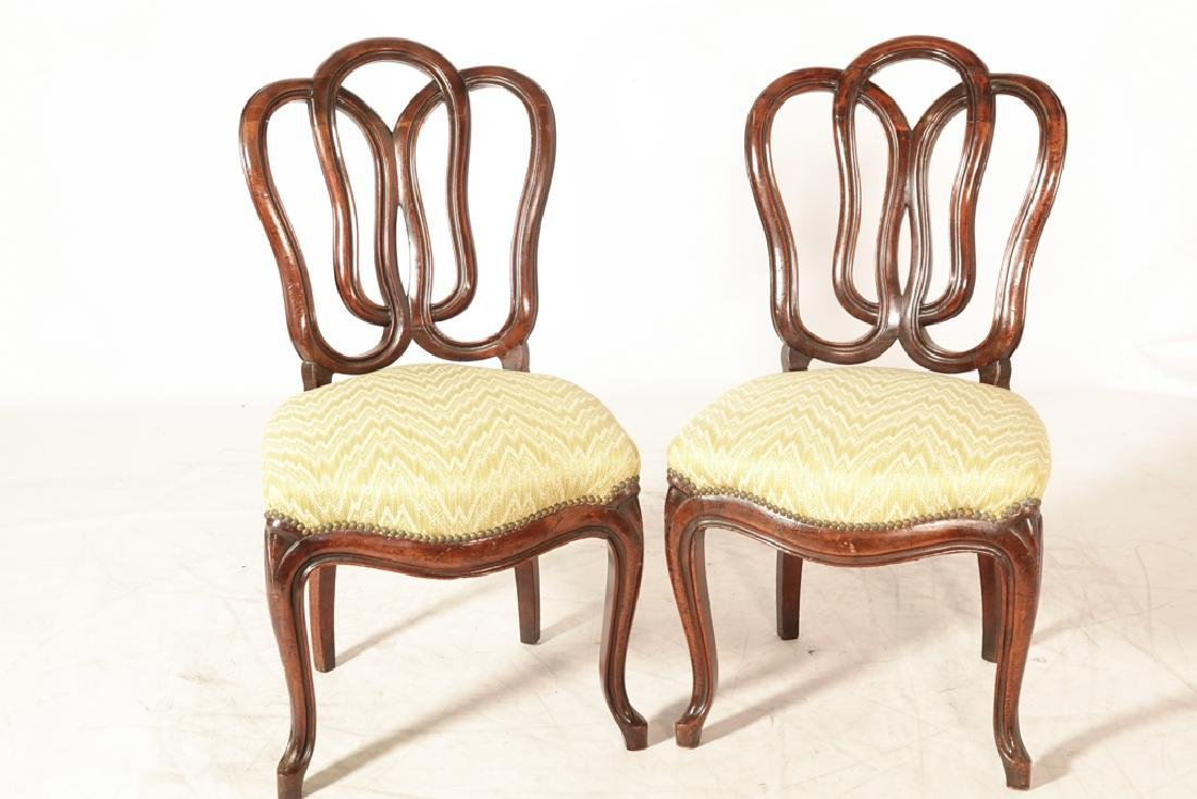 Pair of Antique Italian Ribbon Back Side Chairs - 8
