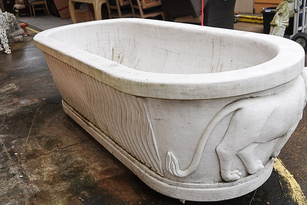 Magnificent Carved Marble Bathtub - 6