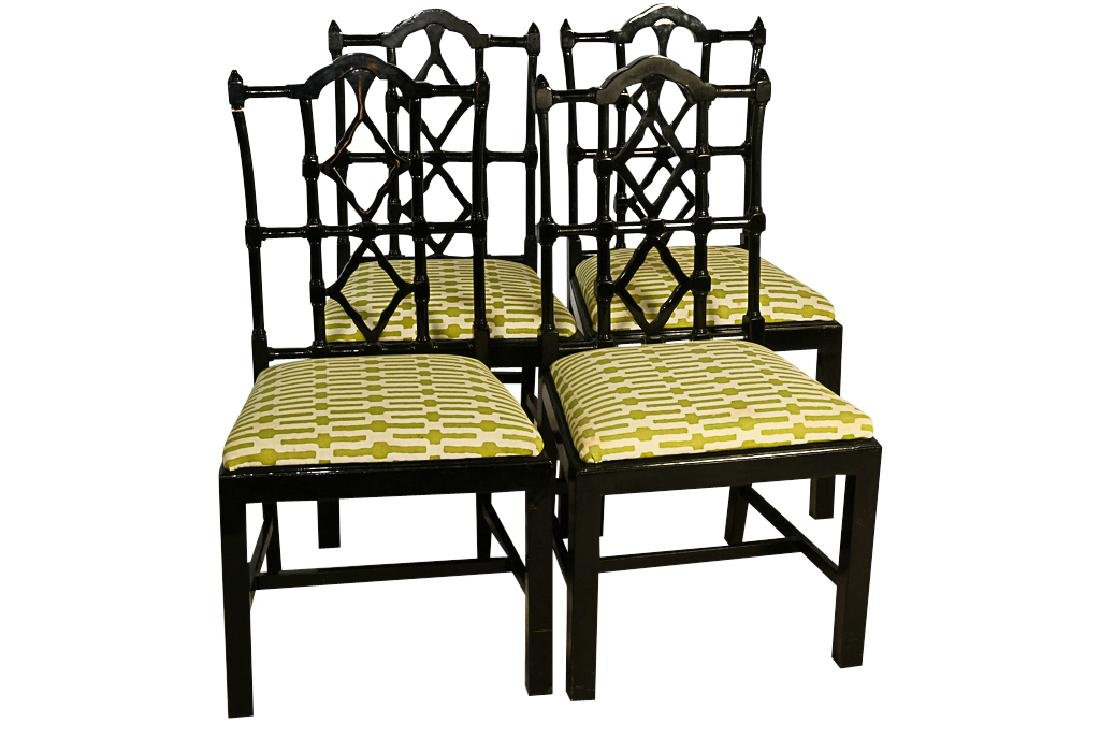 Set Four Chinese Chippendale Style Dining Chairs