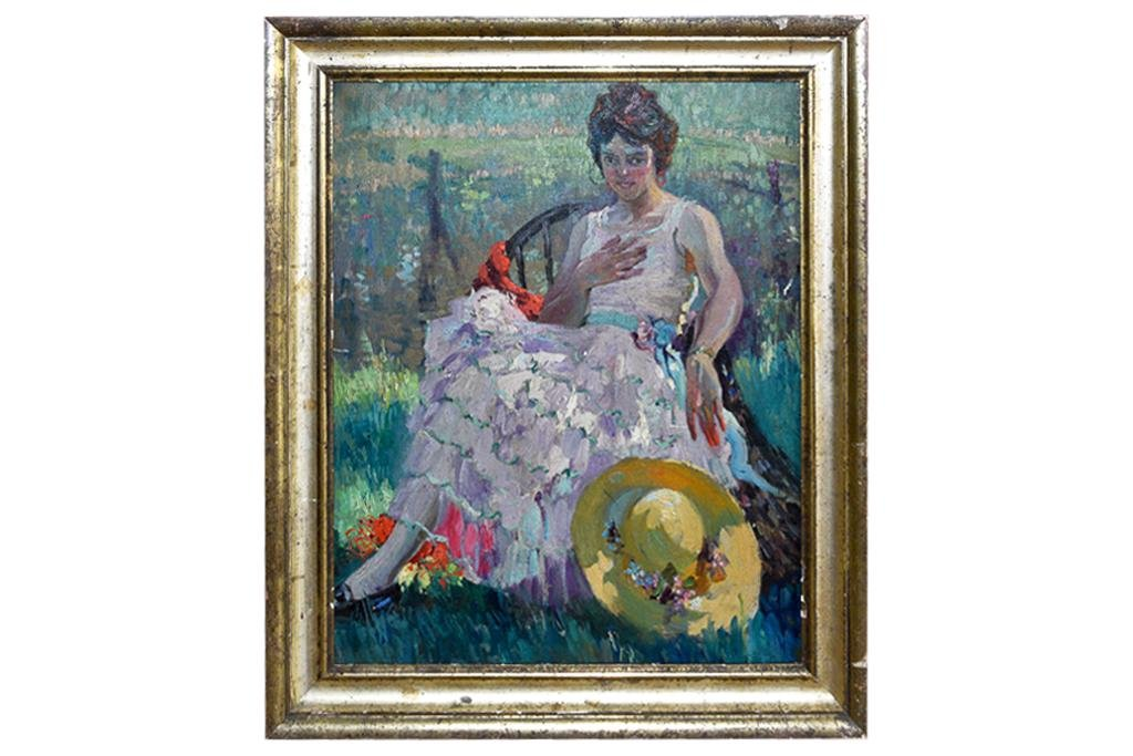 19th cent. Impressionist Portrait Oil on Canvas
