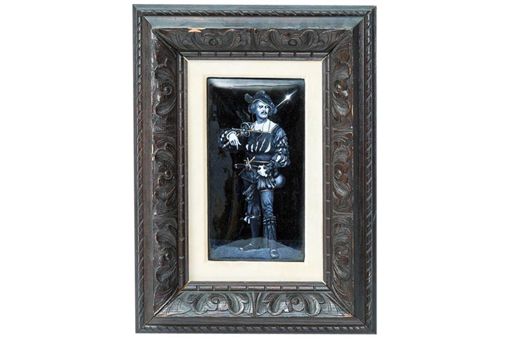 Antique Enamel on Metal Portrait of a Cavalier