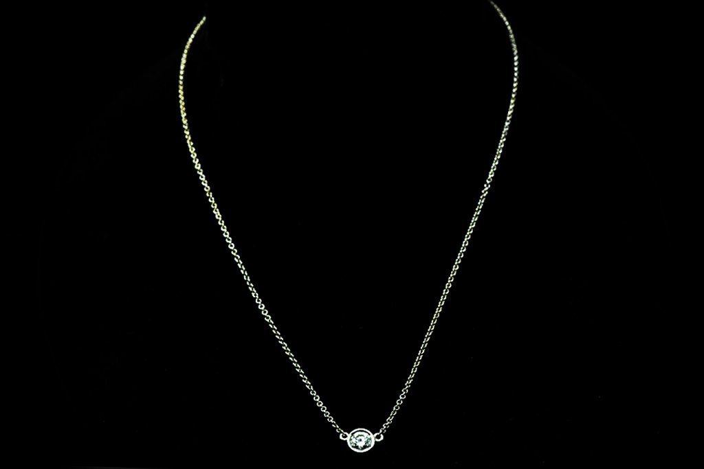 14 K White Gold and Diamond Necklace