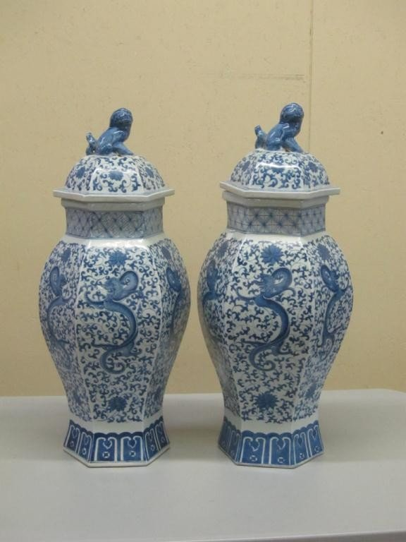 21: PAIR OF BLUE AND WHITE CHINESE VASES: