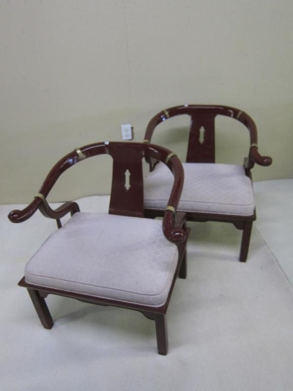 5: PAIR OF RED LACQUER HORSESHOE ARM CHAIRS:
