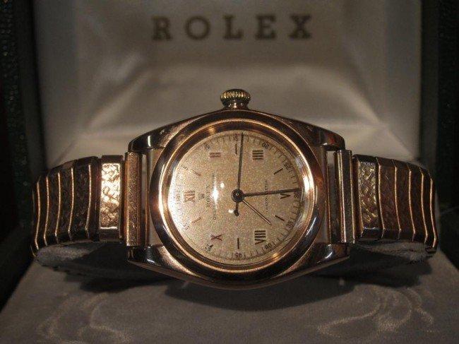 145A: VINTAGE ROLEX 14K ROSE GOLD BUBBLE BACK:
