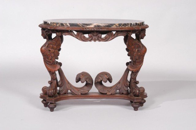 3: CARVED MARBLE TOP OCCASIONAL TABLE: