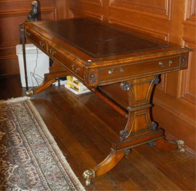17: MAHOGANY LEATHER TOP WRITING TABLE: