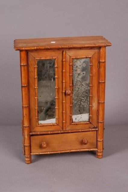 18: DIMINUTIVE ANTIQUE MIRRORED BAMBOO ARMOIRE: