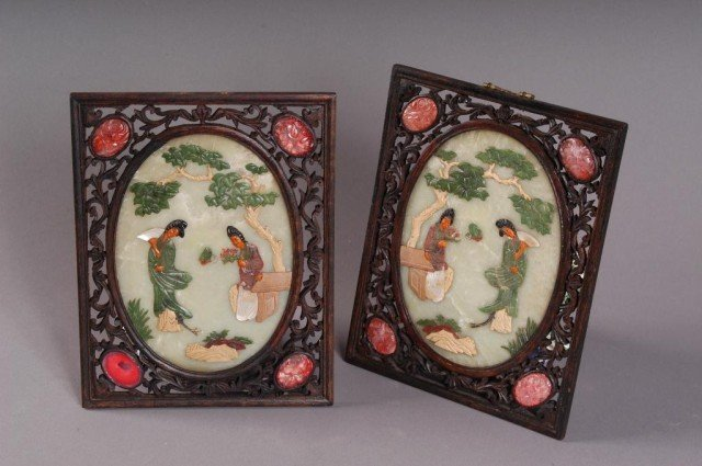 21: PAIR OF CARVED CHINESE PLAQUES:
