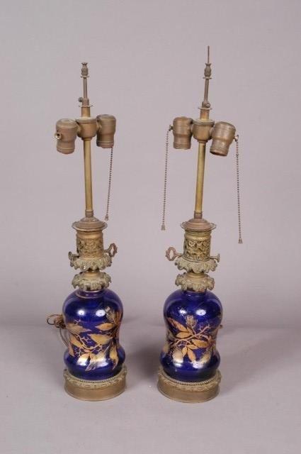 22: PAIR OF VICTORIAN RESERVOIR LAMPS: