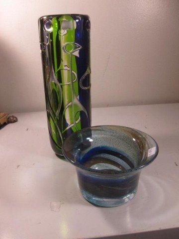 743: 20TH CENT. KOSTA  ART GLASS VASE & OREFORES BOWL: