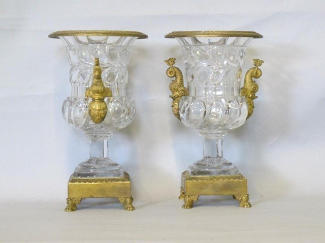 8: PAIR BRONZE AND BACARRAT CRYSTAL URNS: