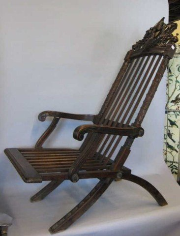 19: FINELY CARVED FOLDING CHAIR: