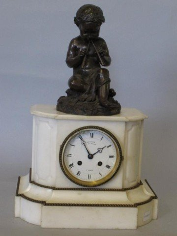 20: FRENCH BRONZE AND MARBLE MANTEL CLOCK: