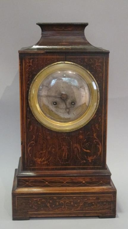 4: ROSEWOOD MARQUETRY INLAID MANTEL CLOCK: