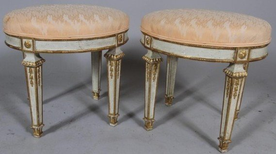 12: PAIR LOUIS XVI STYLE  PAINT DECORATED STOOLS: