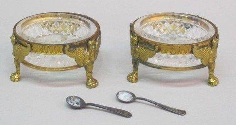 15: PAIR OF GILT BRONZE CUT GLASS MASTER SALTS: