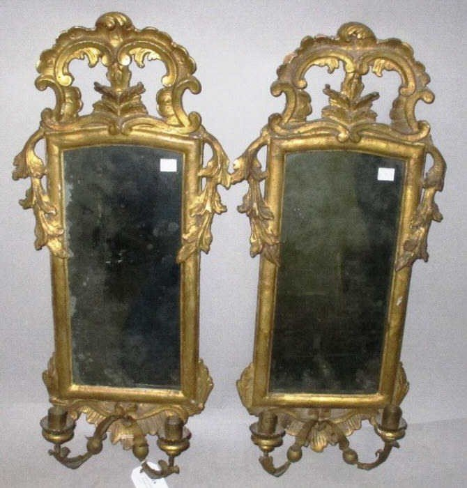 19: PAIR ITALIAN MIRRORED BACK CANDLE SCONCES: