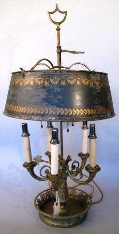 20: 19TH CENTURY BOUILLOTE LAMP WITH TOLE SHADE: