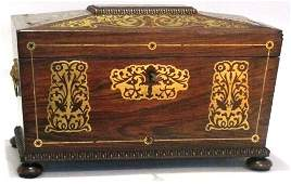 62 ROSEWOOD  FINELY BRASS INLAID TEA CADDY