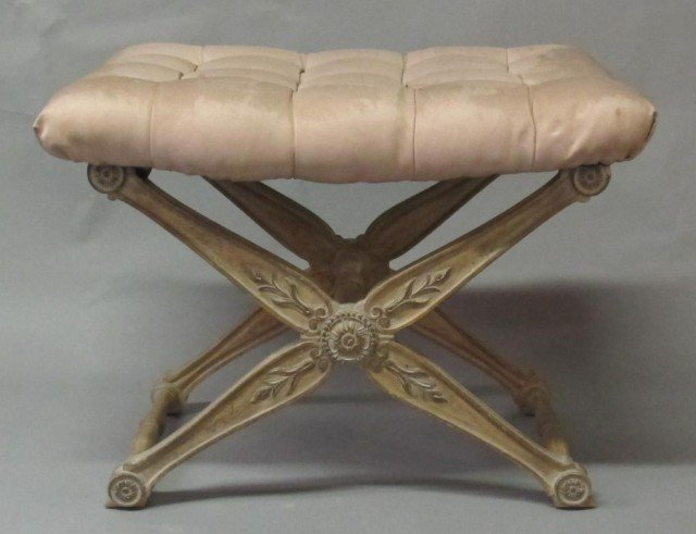 ANTIQUE CARVED X-FORM STOOL: