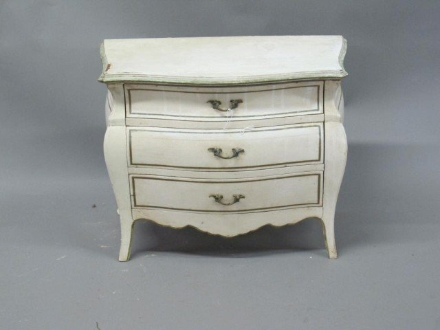 MINIATURE PAINTED BOMBE CHEST: